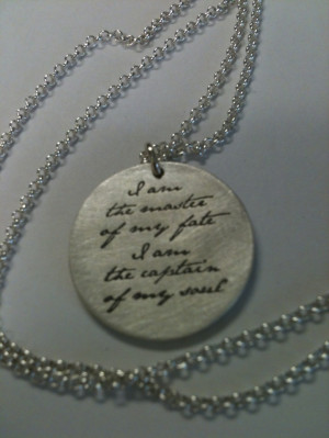 William Ernest Henley Quote Pendant