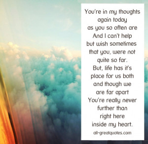You're in my thoughts again today, as you so often are – In Loving ...