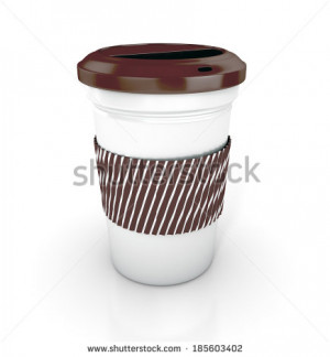 Takeaway coffee cup with lid 3d render isolated on white background