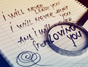 Will Never Stop Loving You I will never leave you,