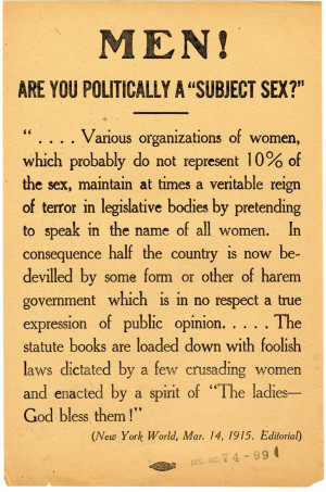One garbage can Five copies of New York Men against woman suffrage