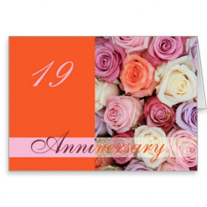 19th Wedding Anniversary Card pastel roses