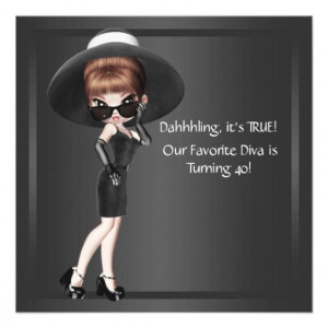 diva womans black 40th birthday party invitation this fun diva ...