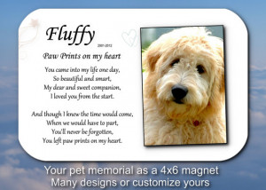 ... pet memorial magnet Paw prints on my heart . pet loss sympathy pet