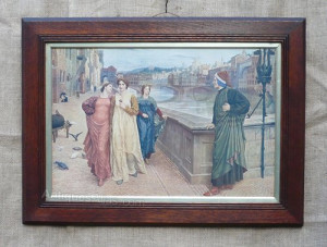 Dante & Beatrice by Henry holiday . A pre raphaelite print in original ...