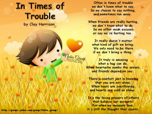 In times of trouble...