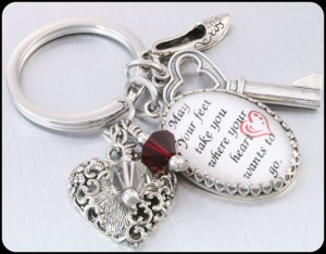 Inspirational Quote Key Chain Crystal Glass, May your feet take you ...