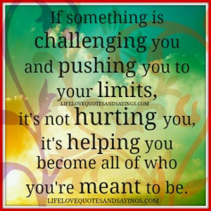 If something is challenging you and pushing you to your limits , it`s ...