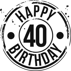 Happy 40th Birthday Black and White Clip Art