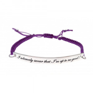... Macrame Cord 'I Solemnly Swear I'm Up To No Good' Quote Bracelet