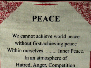 "Dalai Lama Quotes ~ Cotton Canvas Scroll ~ ""Peace"" ~ Natural White ..."