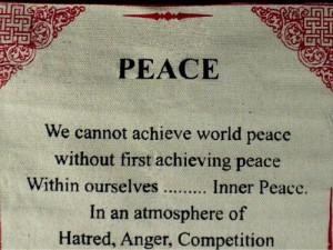 "Dalai Lama Quotes ~ Cotton Canvas Scroll ~ ""Peace"" ~ Natural White ..."