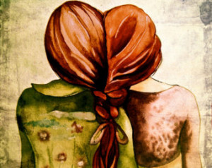 sisters ,best friends art print wit h red hair ...