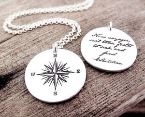 Voyager necklace - compass rose and Whitman quote - Inspirational ...