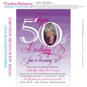 Womens 50th Birthday. Printable Milestone Birthday Invitations ...