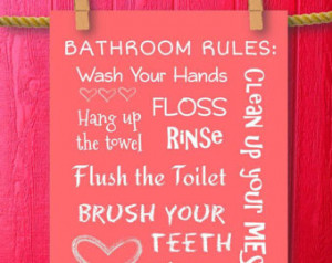 Kids Bathroom Rules, Subway Art Sig n Framed Quotes, Wash Your Hands ...