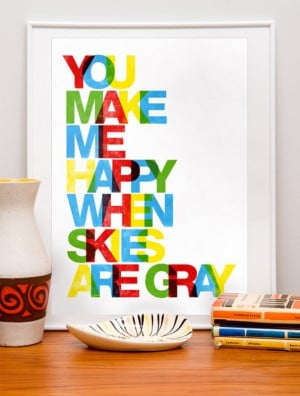 ... art wall decor quote art print letterpress style - You make me happy