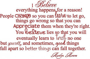 Marilyn Monroe Quotes I Believe That Everything Happens For A Reason