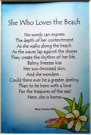 ... express the depth of her contentment As she Walks along the Beach