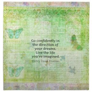 Henry David Thoreau Dream Quote with nature theme Napkins