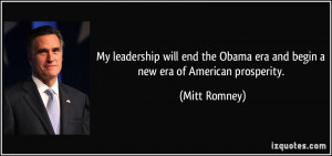 My leadership will end the Obama era and begin a new era of American ...