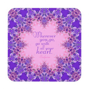 Purple Pink Inspiring Custom Quote : Set of Six Drink Coaster