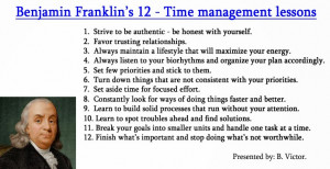 Benjamin Franklin's 12- Time management lessons