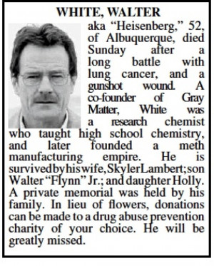 Walter White's Obituary: Albuquerque Honors 'Breaking Bad' Antihero In ...