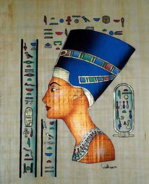 Pinturas egipcias de papiro la reina nefertiti