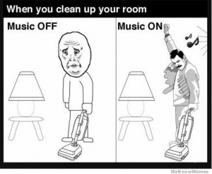 When you clean up your room music off vs music on