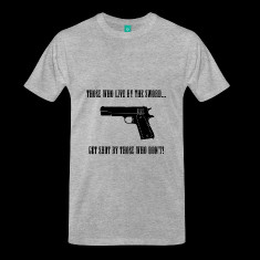 those who live by the sword banner t shirts designed by american ...