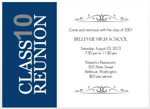 blue and white 10 year reunion invitation