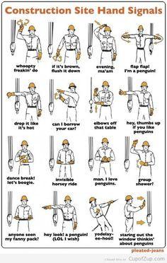 Construction Hand Signals LOL #handsignals #constructionhumor www ...