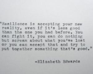 ELIZABETH EDWARDS Inspirational Quote Made on Typewriter Resilience ...