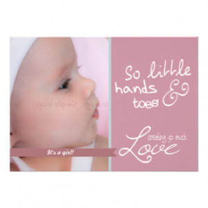 Cute baby girl photo announcement pink white love