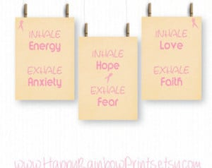 cancer awareness set of 3 pr ints, pink ribbon, Inhale Exhale, Faith ...