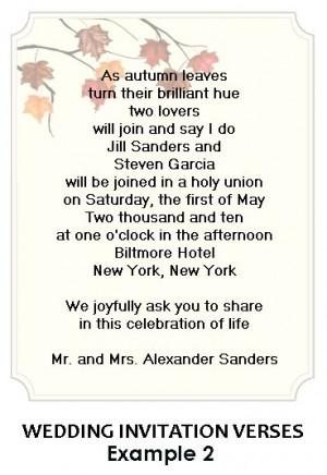Wedding Invitation Sayings Wording