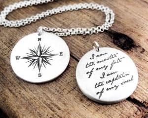 Compass Necklace Invictus quote - Inspirational necklace - graduation ...