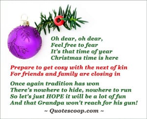 Christmas greeting card with purple Christmas ball and a funny poem.