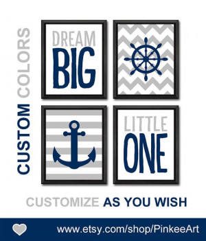 dream big nursery quote nautical wall art boy nursery art anchor ...