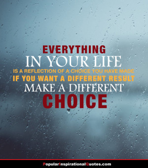 ... you have made. If you want a different result make a different choice