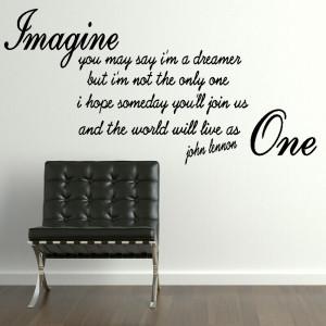 JOHN LENNON IMAGINE song lyric wall sticker quote transfer graphic