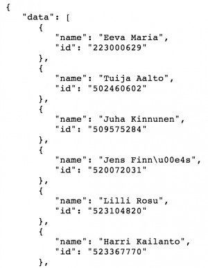 You can get your own Facebook friends data from Facebook API in JSON ...