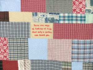 quilt made with pieces of the past provides comfort and a special