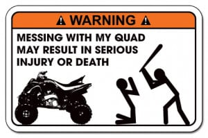 Details about Funny Warning Decal Sticker Yamaha Raptor, Honda, Can-AM ...