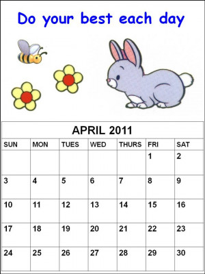 cute quotes for kids. Blank Cute April 2011 Calendar