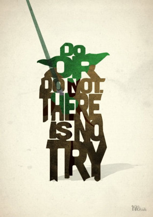 Yoda typography art print poster based on a quote by 17thandOak