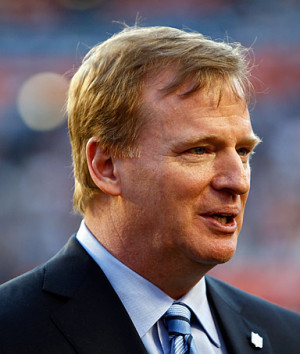 NFL Commissioner Roger Goodell watches teams warm up prior to the ...