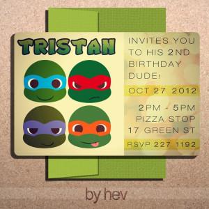 Teenage Mutant NINJA TURTLES Inspired DIY Customized Birthday 4.75 x 7 ...