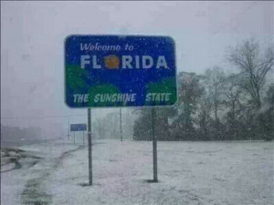 The sunshine state....covered in snow.